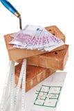 Bouw, financiering, hypotheekbanken. Baksteen stock afbeeldingen