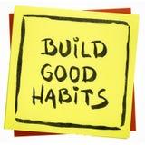 Bouw goede gewoonten inspirational herinnering Stock Foto