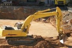Bouw: het opgraven vuil stock afbeelding