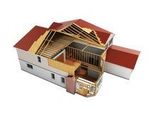 Bouw Huis het Driedimensionele 3d beeld geen schaduw teruggeeft royalty-vrije illustratie