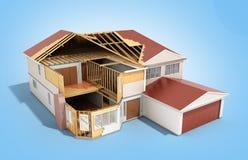Bouw Huis het Driedimensionele 3d beeld op blauw teruggeeft royalty-vrije illustratie