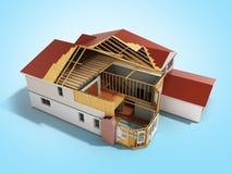 Bouw Huis het Driedimensionele 3d beeld op blauwe achtergrond teruggeeft vector illustratie