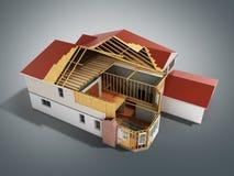 Bouw Huis het Driedimensionele 3d beeld op grijze achtergrond teruggeeft vector illustratie