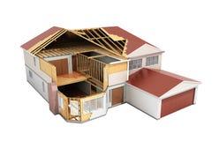 Bouw Huis het Driedimensionele 3d beeld op schaduw teruggeeft vector illustratie