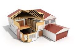 bouw Huis het Driedimensionele 3d beeld op witte backgroun teruggeeft royalty-vrije illustratie