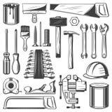 Bouw, huisreparatie of de pictogrammen van het timmerwerkhulpmiddel royalty-vrije illustratie