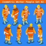 Bouw 02 Isometrische Mensen Stock Fotografie