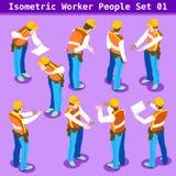 Bouw 01 Isometrische Mensen Stock Fotografie