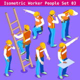 Bouw 03 Isometrische Mensen Royalty-vrije Stock Foto's