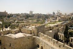 Bouw in Jeruzalem, dat van de Citadel wordt bekeken stock fotografie