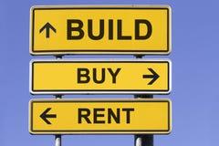 Bouw, koop, huur Stock Foto's