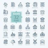 Bouw minimale dunne het pictogramreeks van het lijnweb royalty-vrije illustratie