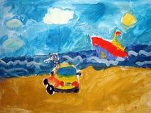 Bouw op het strand - door kind wordt geschilderd dat Stock Fotografie