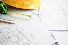 Bouw planning en ontwerp stock foto's