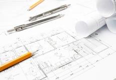 Bouw planningstekeningen stock afbeelding