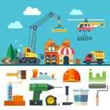 bouw Proces, hulpmiddelen, en materialen vector illustratie