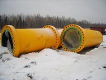 Bouw van aardgasleiding ter plaatse stock fotografie