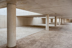 Bouw van beton en cement met Verdwijnend Punt en texturen zonder mensen Royalty-vrije Stock Afbeelding