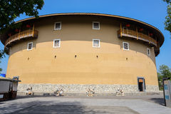 Bouw van de Archaised de cirkel aarden woning in stijl van Fujian stock afbeeldingen