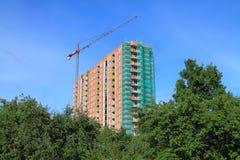 Bouw van de bouw met meerdere verdiepingen op de straat Koshevogo in Kaliningrad in de kroon van de voorgrond groene boom Stock Fotografie