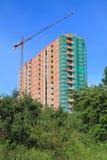 Bouw van de bouw met meerdere verdiepingen op de straat Koshevogo in Kaliningrad in de kroon van de voorgrond groene boom Stock Afbeeldingen