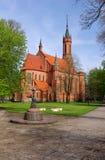 Bouw van de de baksteen katholieke kerk van Druskininkai de rode Royalty-vrije Stock Afbeeldingen