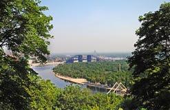 Bouw van de grote brug in Kiev Stock Fotografie
