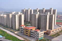 Bouw van de nieuwe stad in China royalty-vrije stock foto's