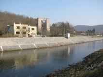 Bouw van een dam in Brno Stock Foto's