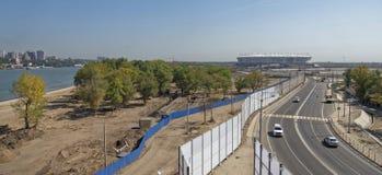 Bouw van een nieuw strand voor de Wereldbeker van FIFA van 2018 Nieuwe st Stock Foto's