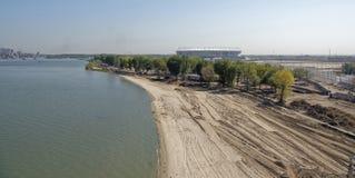 Bouw van een nieuw strand voor de Wereldbeker van FIFA van 2018 Nieuwe sta Stock Afbeeldingen