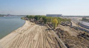 Bouw van een nieuw strand voor de Wereldbeker van FIFA van 2018 Nieuwe sta Stock Foto