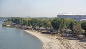 Bouw van een nieuw strand voor de Wereldbeker van FIFA van 2018 Nieuwe sta Royalty-vrije Stock Afbeelding