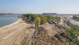 Bouw van een nieuw strand voor de Wereldbeker van FIFA van 2018 Nieuwe sta Royalty-vrije Stock Foto's