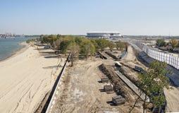 Bouw van een nieuw strand voor de Wereldbeker van FIFA van 2018 Nieuwe sta Royalty-vrije Stock Fotografie