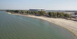 Bouw van een nieuw strand voor de Wereldbeker van FIFA van 2018 Nieuwe sta Stock Fotografie