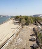 Bouw van een nieuw strand voor de Wereldbeker van FIFA van 2018 Nieuwe sta Stock Afbeelding