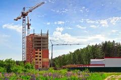 Bouw van een nieuw woonhuis Het Gebied van Moskou, Rusland Stock Foto's