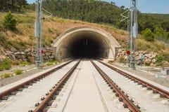 Bouw van een nieuwe hoge snelheidsspoorweg Tarragona Valencia, Spai Royalty-vrije Stock Foto