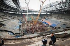 Bouw van een stadion voor de Wereldbeker van 2018 Royalty-vrije Stock Foto's