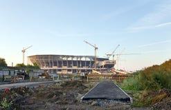 Bouw van een voetbalstadion in Lviv de Oekraïne Royalty-vrije Stock Foto