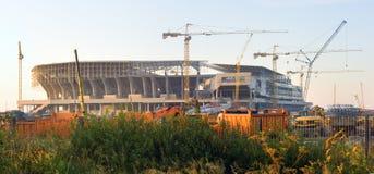Bouw van een voetbalstadion in Lviv de Oekraïne Stock Afbeelding