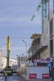 Bouw van een winkelcentrum in Kharkiv Stock Foto
