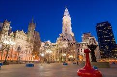 Bouw van het het oriëntatiepunt de historische Stadhuis van Philadelphia royalty-vrije stock afbeelding