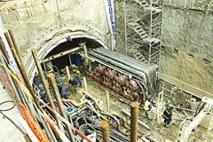 Bouw van metro in het centrum van stad Stock Afbeelding
