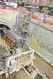 Bouw van metro in het centrum van stad Stock Foto's