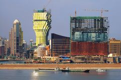 Bouw van nieuwe casino's in Macao Royalty-vrije Stock Foto