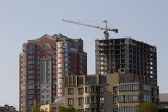 Bouw van nieuwe huizen dichtbij de Pushkin-Boulevard in Donetsk Royalty-vrije Stock Fotografie