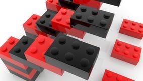 Bouw van stuk speelgoed bakstenen in zwart en rood stock illustratie