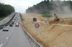Bouw van wegen in Duitsland royalty-vrije stock afbeeldingen